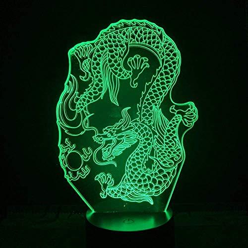 3D-Led-Illusionslicht , Chinesischer Drache , Kinderlampe Schlaflicht Desktop-Dekoration Nachttischlampe Tischlampe Kreative Dekoration Weihnachtsgeschenk Geburtstagsgeschenk.