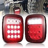 Fieryred Universal Tail Lights for Jeep CJ YJ JK Truck Trailer Boat RV, DOT Complied LED Tail Brake Turn Stop Licence Back up Lights