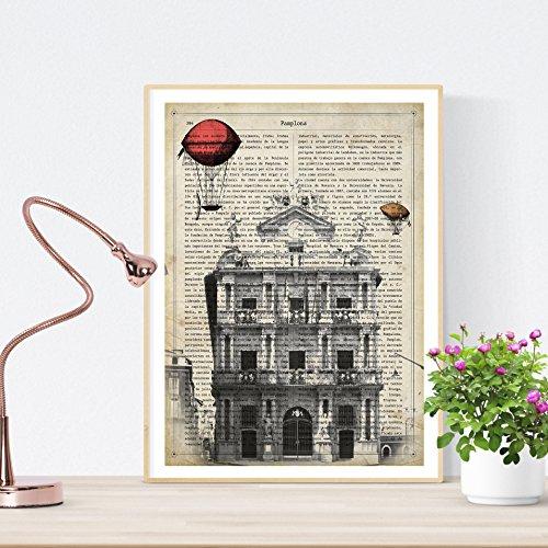 Nacnic Lámina Ciudad de Pamplona. Estilo Vintage. Ilustración, fotografía y Collage con la Historia DE Pamplona. Poster tamaño A4 Impreso en Papel