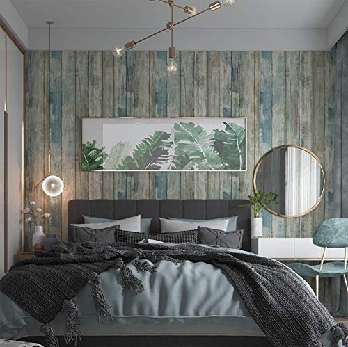 Wood Wallpaper 11.8 X 78.7 Self-Adhesive Removable Wood Peel and Stick Paper Decorative Wall Covering Vintage Wood Panel Interior Film for Christmas Decoration