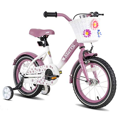 """JOYSTAR 18 Inch Kids Bike with Hand Brake and Basket for 5 6 7 8 9 Years Girls, 18"""" Youth Bike with Training Wheels and fenders, Lavender"""
