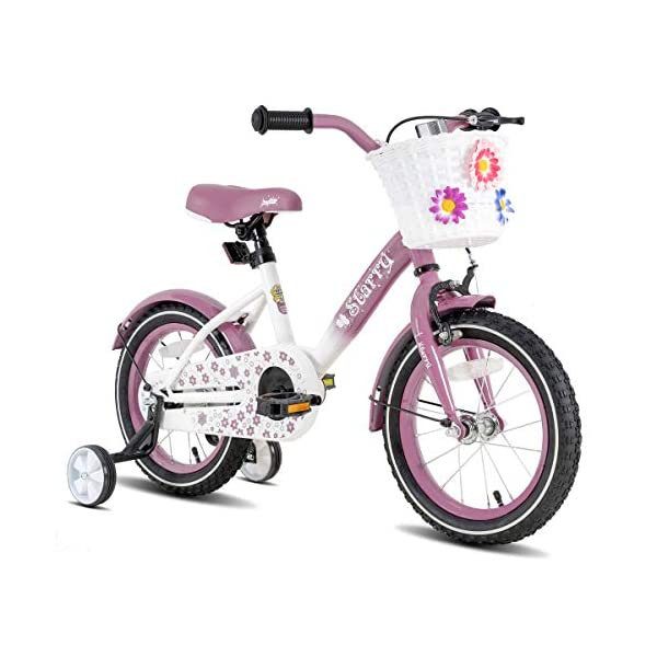 JOYSTAR Starry Kids Bike with Hand Brake and Basket for 3-9 Years Girls, 14 16 18 Inch Youth Bike with Training Wheels… -
