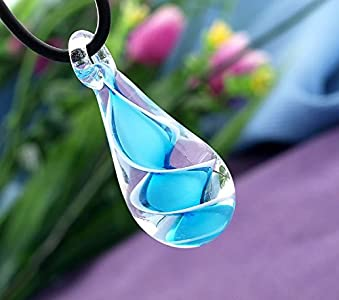 Ecloud Shop® 6 X Cadena Collar Colgante Cristal Murano Lágrima Azul