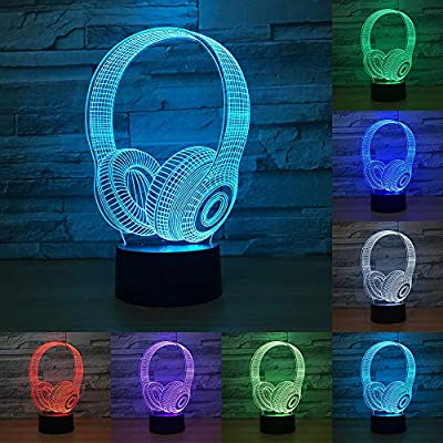RUMOCOVO® 3D DJ Headphone LED Night Light Studio Music Headset 7 Colorful Table Lamp Home Bedroom Party Decor Atmosphere Lamp Sleep Lighting Christmas Gifts from RUMOCOVO