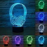 3D Casque De DJ lumière de nuit Studio Music Headset 7 lampe Earphone Couleur variable LED Lampe de table Chambre à coucher Décor veille d'éclairage meilleurs cadeaux