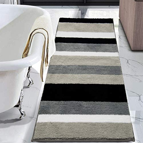 HEBE Bathroom Rugs Runner Water Absorbent Soft Microfiber Shaggy Bath Mat Machine Washable Bath product image