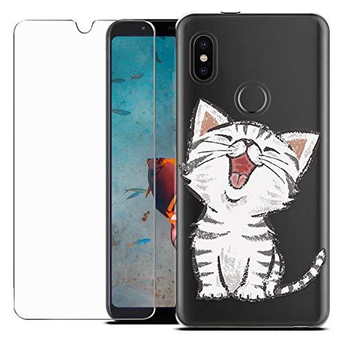 MadBee Funda para Xiaomi Mi A2 / Mi 6X [con Protector Pantalla],Transparente Carcasa Silicona Ultra Fina Suave TPU Gel Bumper Case Protección con Dibujos Shell Cover (Gato 1)