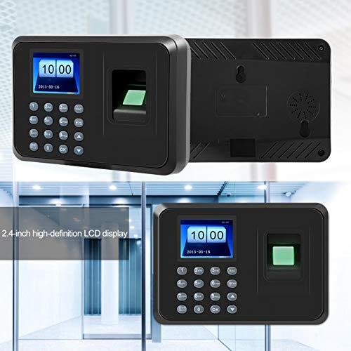Tosuny Máquina de Asistencia de Huellas Digitales con 2.4 Pulgadas LCD Reloj Checador de Huella Digital Biométrico con Capacitad de 1000 Huellas, Sistema Española(Enchufe de la UE)