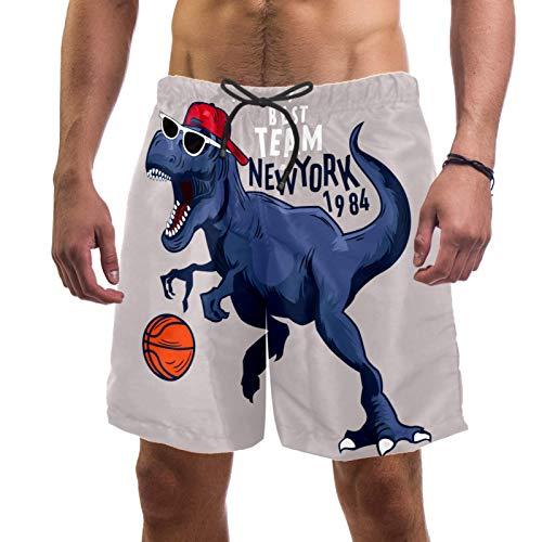 ATOMO Pantalones cortos de natación para hombre, dinosaurio, baloncesto, deportes, surf, playa, secado rápido - - XXL