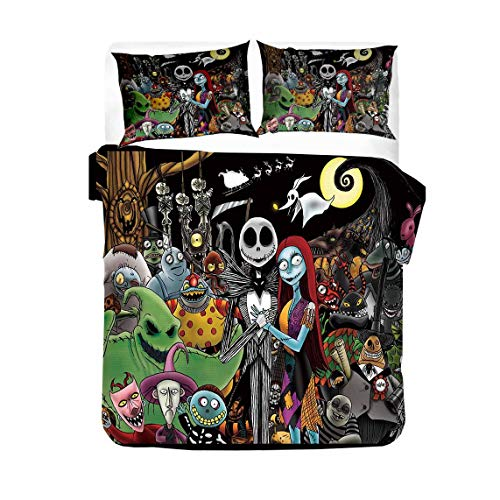xiheshian Nightmare Before Christmas Bedding Set,Jack Skellington Sally Rose Gifts Bed Decor Microfiber Halloween Comforter Cover Set with Duvet Cover Pillow Shams, Full Size