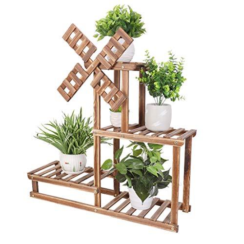 UNHO 木製フラワースタンド 花台 室内 おしゃれ プランタースタンド 屋外 ベランダ ガーデニングラック アンティーク ガーデンラック 盆栽棚 植物棚 園芸ラック