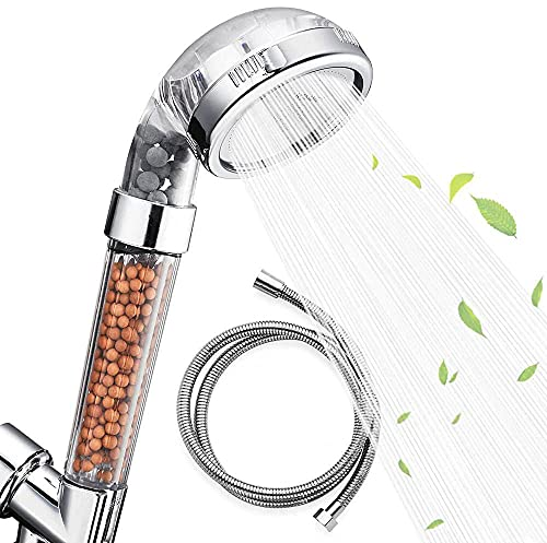 Nosame Shower Head with Hose, Filter Filtration High Pressure Water Saving 3 Mode Function Spray Handheld Showerheads for Dry Skin & Hair
