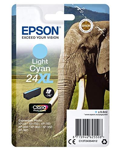 Epson 24Xl Serie Elefante Cartuccia Getto d'Inchiostro, 9.8 ml, Ciano Chiaro, con Amazon Dash Replenishment Ready