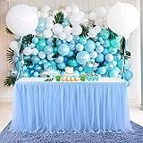 HBBMAGIC 3 Capas de Malla mullida Tabla de tutú Falda de vajilla de Tul para la Fiesta de Bodas de cumpleaños Decoración para el hogar Azul, 275 * 76CM