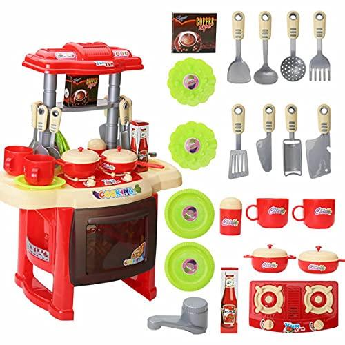 KoelrMsd Niños Educativos Luz Música Cocina Vajilla Mesa Jugar Casa Juguetes de Cocina Juguete de espectáculo de ángulo para niños