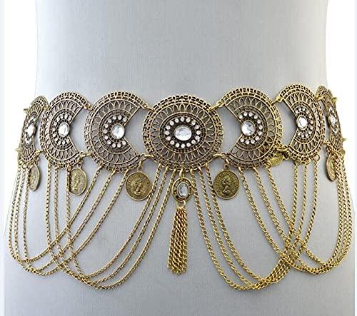 Cadena de color para cinturón de cuerpo indio, sexy, con borla de moneda, cuentas de piedra, danza del vientre, cadena de cintura (color metálico: oro)