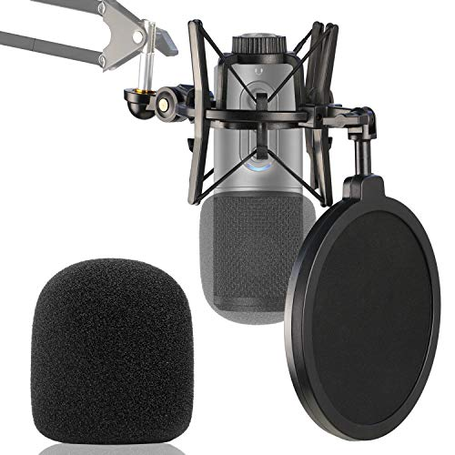 ATR2500X Shock Mount with Pop Filter and Foam Windscreen to Reduce Vibration Noise Matching Mic Boom Arm Stand for Audio-Technica ATR 2500X and ATR2500 USB Condenser Microphone by YOUSHARES
