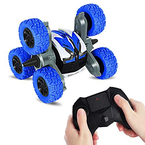 Kqpoinw Ferngesteuertes Auto, 6WD RC Stunt Auto 2.4 GHz Amphibisch Offroad Auto Wasserdicht 360 °Drehung Geländewagen Autos Spielzeug für Kinder Junge Mädchen Erwachsene(Blau)