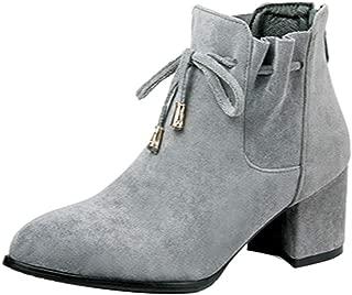 MisaKinsa Women Fashion Short Boots Zipper Autumn Booties Block Heels