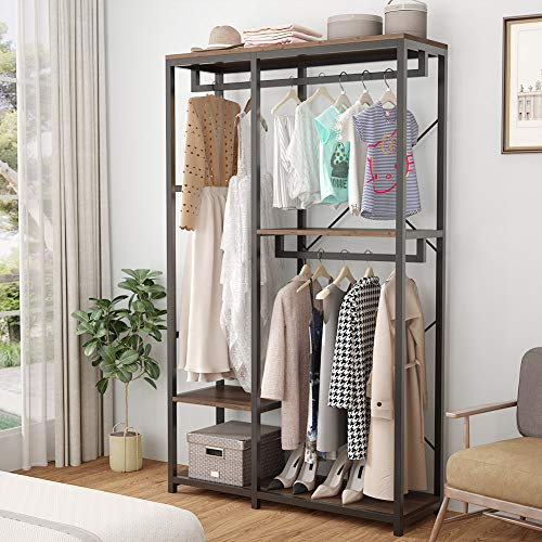 Tribesigns 79 inches Tall Double Rod Closet Organizer, Free Standing 3 Tiers Shelves Clothes Garment Racks, Large Clothing Storage Shelving Unit with Triple Hanging Bar for Bedroom (Vintage Walnut)