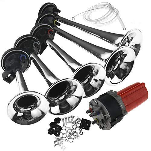 Kampre Air Horn Air Horn 12V 130dB Sirena para Coche Kit de compresor de Aire Musical de 5 Piezas para vehículo, camión, Tren, Barco, Motocicleta
