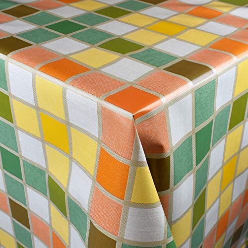 KEVKUS Tovaglia in tela cerata 160 cm larghezza B3838-01 mosaico, per giardino, estate, rotonda, ovale (bordo (con nastro in plastica), 80 x 240 cm, rettangolare tavolo da birreria L)