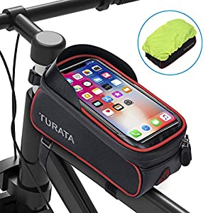 TURATA Bike Frame Bag, Waterproof Bike Pouch Bag, Cycling Front Top Tube Touchscreen Sun Visor Storage Bag with Headphone Hole for iPhone Samsung and other Smartphone Below 6.5 Inch (Red) by TURATA