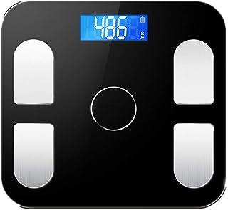 QYT-Báscula de Grasa Corporal, báscula de Peso Bluetooth, báscula de baño, báscula de Grasa Corporal Digital, 27 Tipos de Ingredientes Esenciales del Cuerpo Humano (Tipo de batería),Negro