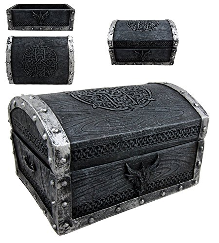 Ebros Gift Medieval Fantasy Celtic Crest Dragon Decorative Box Figurine 4.75' Long As Dungeons And Dragons Mythical Decor Trinket Storage Sculpture Mini Chest Box Statue GOT LOTR Gothic Fans