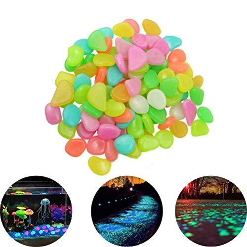 JHCtech Glow in The Dark Pebbles, Steine 200er Bunt Leuchtsteine Luminous Garten Kies Rocks,für Outdoor, Glowing Fairy Garden Steinen für Auffahrt, Fisch Tank Aquarium Glow Dekorationen Kies