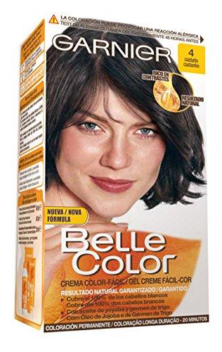 Garnier Belle Color Coloración de aspecto natural y cobertura completa de canas con aceite de jojoba y germen de trigo - Tono: Castaño 4, Pack of 2