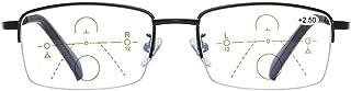 Progressive Multifocal Computer Reading Glasses Blue Light Blocking Titanium Alloy Spring Hinge Readers Eyeglasses Anti Glare Eye Strain Light Weight for Men and Women (2.5)