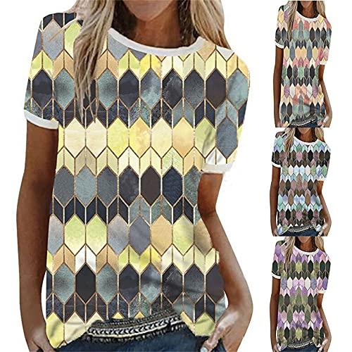 T-Shirt Donna personalità Moda Estate Girocollo Donna Manica Corta Chic Colore Geometrico Motivo Stampa Design Quotidiano Casual Luce Morbido Traspirante all-Match Donna Tops A-Yellow XL