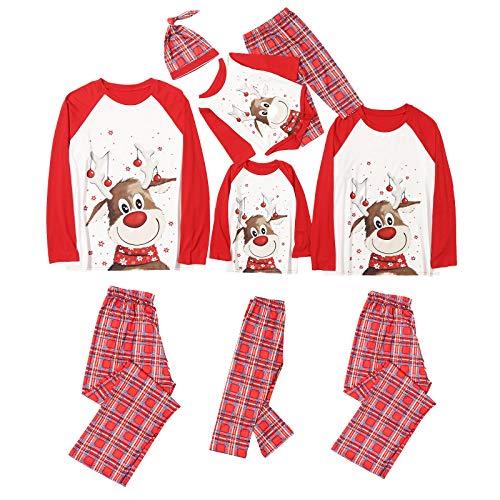 Geagodelia Pigiama Natale Famiglia Set Pigiama 2Pcs Natalizio Nightwear Top + Pantaloni per Donne Uomo Ragazzi Bambini Neonati Camicia da Notte Regalo Xmas (A-Rosso&Bimbo, 3-6 Mesi)
