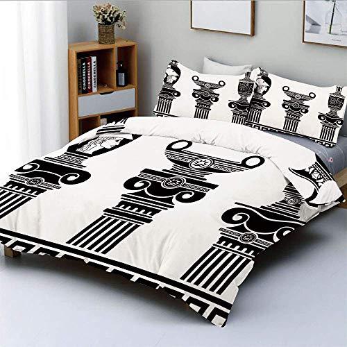 Jojun Bettbezug-Set, Set aus hellenischen Vasen und ionischen Säulen Künstlerisches Design Amphora AntiquityDecorative 3-teiliges Bettwäscheset mit 2 Kissenbezügen, schwarz und weiß, Kin