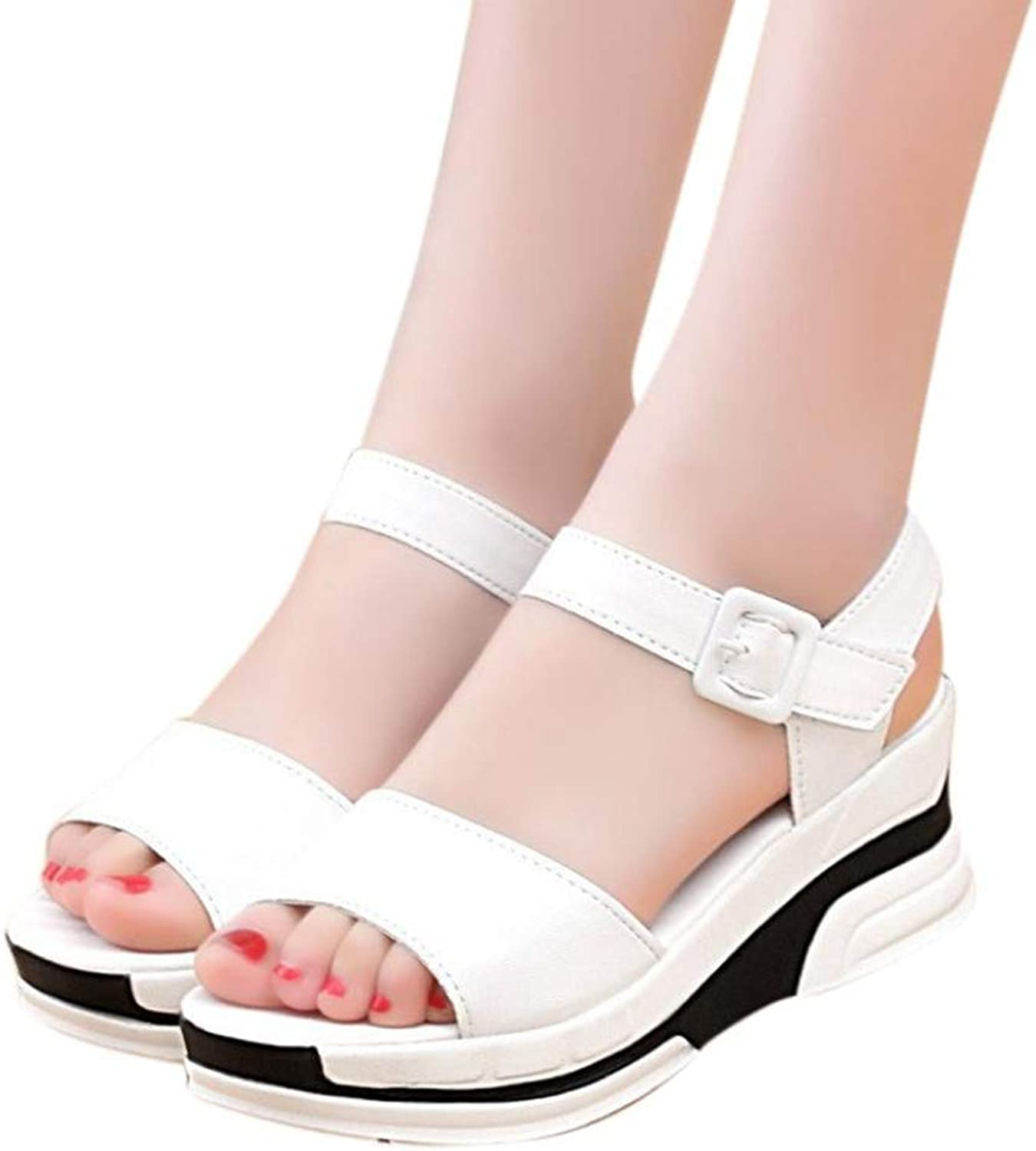 T-JULY Sandals Women's Summer Slippers Peep-Toe Low Heel Roman Sandals Ladies Flip Flops