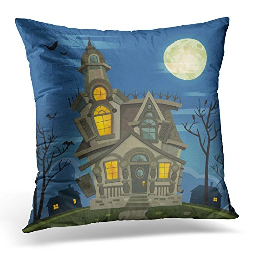 Sdamas Decorative Pillow Cover Black Mansion Halloween Haunted House Blue Atmosphere Throw Pillow Case Square Home Decor Pillowcase 16x16 Inches