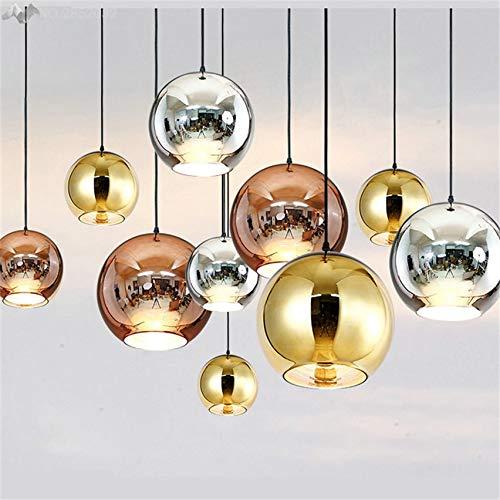 5151BuyWorld Moderne elektrolytische lamp, goud/zilver, met hogere ophanging, glazen bol, hanglamp, spiegel voor woonkamer, bar, slaapkamer