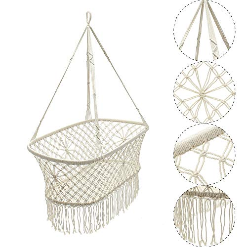 Feixunfan hangstoel witte baby kinderkamer Bassinet wieg opknoping touw Macrame hangstoel schommel voor patio tuin