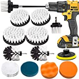 Drill Brush and Scrub Pads, VONDERSO 16 Pcs Power Scrubber Kit with Long Reach Attachment for Kitchen Washing, Bathroom Shower Scrubbing, Carpet Cleaning, Grout Scrubbing, Automotive and Tile Cleaning