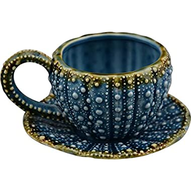 Blue Sky Ceramic Urchin Tied Cup and Saucer, 5  x 4.5  x 3 , Blue