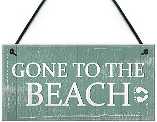 Gone To The Beach Custom Wood Signs Design Hanging Gift Decor For Home Coffee House Bar 5 X 10 Inch