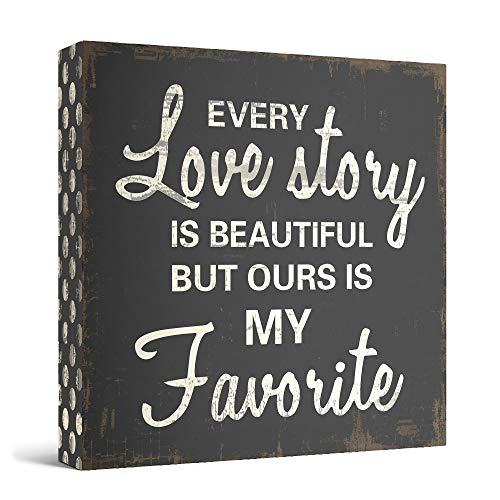 Every Love Story Is Beautiful Wooden Box Wall Art Sign, Primitive Country Farmhouse Home Decor Sign With Sayings 8 x 8