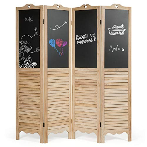 Classic Window Shutter Design Folding Privacy Room Divider Screen Tall 4 Panel with Chalkboard Lightweight and Portable Durable Stable Suitable for Office and Home Natural