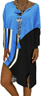 neveraway Women Strip Long Sleeve Mid Long Baggy Style Contrast V-Neck Dress