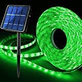 Green Solar LED Strip Lights Outdoor, 19.6feet 180 LED Solar Halloween Accent Lighting, 8 Modes Waterproof, Auto ON/Off Light Strips for Patio Pool St Patricks Day Decorations