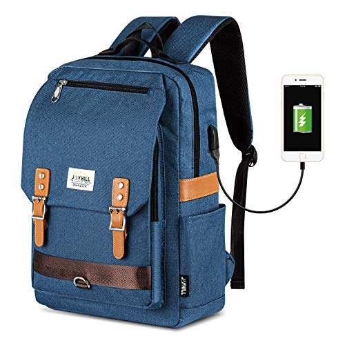 JOYHILL Vintage Laptop Backpack Womens Mens, Unisex Rucksack Casual Daypack Fits Up to 15.6 Inch Notebook, Water Resistant School Backpack with USB Charging Port