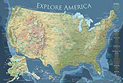 Image: National Parks Map Poster | 24x18 inch Map | Explore America Map | USA Voyager Edition