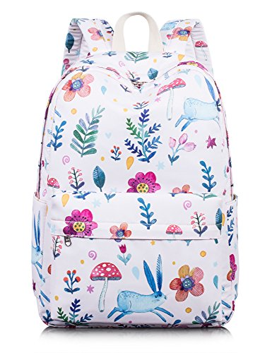Leaper Lovely Floral Backpack Water-Resistant Children School Bag Satchel Pink