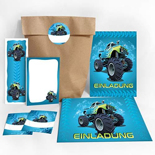 JuNa-Experten 8 Einladungskarten Kindergeburtstag Jungen Jungs Monster-Truck / Auto / incl. 8 Umschläge, 8 Party-Tüten / Natur, 8 Aufkleber, 8 Lesezeichen, 8 Mini-Notizblöcke